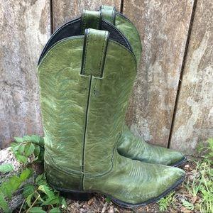 Vintage Hunter Green Leather Justin Cowboy Boots